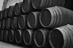 Trummor i vinodlingen i svartvitt Arkivfoton