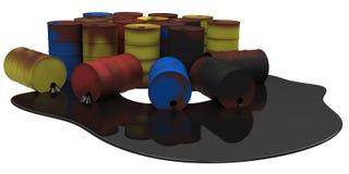 Trummor med oljeutsläppet Royaltyfri Fotografi