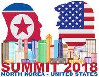 Trump金Jong Un新加坡总统山顶2018剪影传染媒介 库存照片