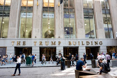 The Trump Building. New York, NY: August 27, 2016: The Trump Building on Wall Street. In 1995, President-elect Donald Trump bought the building that is now known Royalty Free Stock Photo