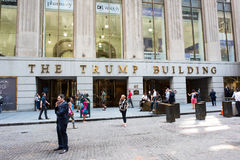 The Trump Building. New York, NY: August 27, 2016: The Trump Building on Wall Street. In 1995, President-elect Donald Trump bought the building that is now known Royalty Free Stock Image