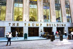 The Trump Building. New York, NY: August 27, 2016: The Trump Building on Wall Street. In 1995, President-elect Donald Trump bought the building that is now known Royalty Free Stock Photography
