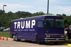 Trump bus at rally, Oskaloosa, Iowa, July 25, 2015 Stock Photo