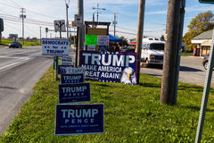 Trump Campaign Signs at Roadside Stand Royalty Free Stock Images