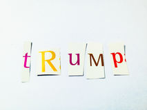 Trump - Cutout Words Collage Of Mixed Magazine Letters with White Background. Caption composed with letters torn from magazines with White Background Stock Image