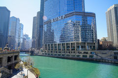 Trump International Hotel. CHICAGO, IL - April 15, 2016: Chicago River in the daytime. Trump International Hotel and Tower, a skyscraper condo hotel located in Royalty Free Stock Photos