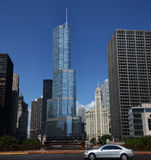 Trump International Hotel and Tower from bridge. CHICAGO - JULY 20: Trump International Hotel and Tower in Chicago, IL, shown in this bridge view on July 20 Royalty Free Stock Photo