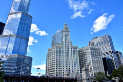 Trump International Hotel and Wrigley Clock Tower, Chicago. Wrigley building clock Tower and Trump International Hotel in Chicago at North Michigan Avenue and Royalty Free Stock Photo