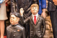 Trump and Kim Jong-un statuette. The art of Neapolitan nativity of S. Gregorio Armeno, S. Gregorio Armeno is a small street in the old town of Naples, Italy Royalty Free Stock Image