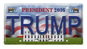 2016 Trump License Plate. License Plate promoting Donald Trump as a candidate for the presidential election in 2016. Includes a clipping path Stock Illustration