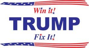 Trump, lo vince! Riparilo! Progettazione bianca e blu rossa Immagine Stock Libera da Diritti