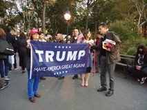 Trump, Make America Great Again!, Washington Square Park, NYC, NY, USA. It`s almost one year after the historic election of Donald Trump as the 45th President of Stock Photography