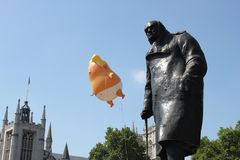 Trump Protest, London, July 13, 2018 : Donald Trump baby blimp protest flys over Westminster, london, July 13, 2018 in London, Eng Royalty Free Stock Photos
