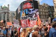 Trump Protest march London, July 13, 2018 : anti-Donald Trump placards Royalty Free Stock Photos
