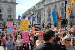 Trump Protest march London, July 13, 2018 : anti-Donald Trump placards stock, photo, photograph, image, picture. Trump Protest, London, July 13, 2018 : Donald royalty free stock photos