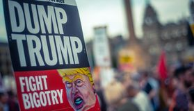 Trump Protest Sign royalty free stock photo