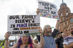 Trump Protesters Hold Signs About Human Rights, Peace, Equality Royalty Free Stock Photo
