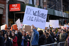 Trump Protests. People holding signs at a `Trump is not my President` march in New York City Stock Photo