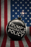 Trump`s Immigration Policy word on bomb. Trump`s Immigration Policy word on the big bomb with flag of United States royalty free stock photos