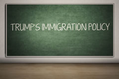 Trump`s Immigration Policy word in classroom Stock Photography