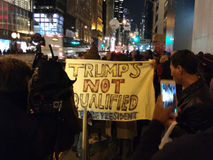 Trump`s Not Qualified to be President, Protesters, NYC, USA Stock Photos