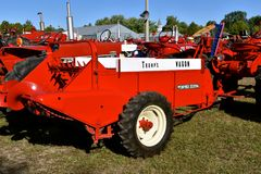Trump`s wagon, a manure spreader. DALTON, MINNESOTA, Sept 8, 2017: A restored McCormick Deering manure designated as Trump`s Wagon and is displayed at the annual Stock Photos