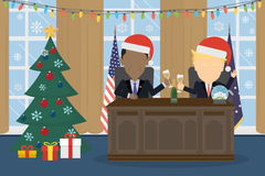Trump in santa hat in white house. Stock Images