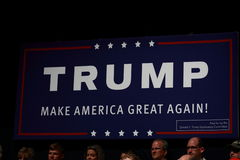 Trump sign at campaign rally on July, 25, 2015, in Oskaloosa, Iowa Royalty Free Stock Photography