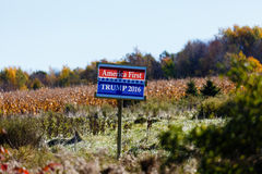 Trump Sign in a Wisconsin Field. Trump sign standing alone in a Wisconsin rural farm field Royalty Free Stock Images