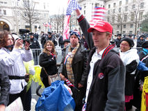 Trump Supporter at the Inaugural Parade in Washington DC Stock Photography