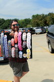 Trump supporter sells buttons at rally in Oskaloosa, Iowa, on 7/25/2015 Stock Images
