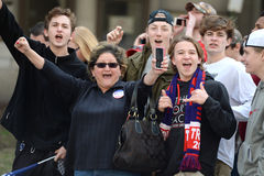 Trump Supporters Cheering. Saint Louis, MO, USA – March 11, 2016: Donald Trump supporters cheer outside the Peabody Opera House in Downtown Saint Louis Royalty Free Stock Photo