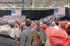 Crowds at the Cleveland Ohio Trump rally on November 5, 2018 royalty free stock photo