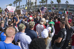 Trump supporters outside San Diego convention center Stock Photos