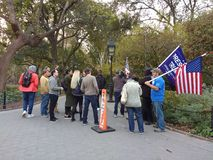 Trump Supporters, Washington Square Park, NYC, NY, USA. It`s almost one year after the historic election of Donald Trump as the 45th President of the United Royalty Free Stock Photo