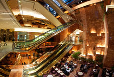 Trump Tower atrium. Restaurant in Trump Tower atrium with famous waterfall wall. New York City Royalty Free Stock Image