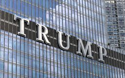 Trump tower building sign at Chicago Illinois. Glass building, skyscraper stock image
