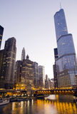 Trump Tower in Chicago. At night time stock photo