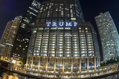 Trump Tower Chicago fisheye at night. CHICAGO, USA - JUNE 4, 2016: The Trump International Hotel and Tower is located right on the banks of the Chicago River in Stock Photography