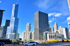 Trump tower and city buildings, Chicago river Royalty Free Stock Images