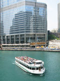 Trump Tower construction site and ferry boat Royalty Free Stock Photos