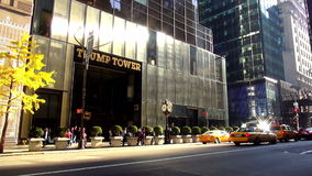 Trump Tower on Fifth street Manhattan USA cityscapes. Trump Tower on Fifth street Manhattan United States cityscapes videoclip stock footage