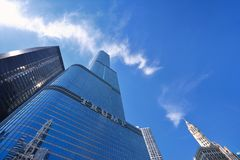 Trump Tower skyscraper building on Chicago River. Royalty Free Stock Image
