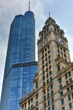 Trump Tower and Wrigley Building Chicago Royalty Free Stock Images