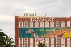 Trump and Treasure Island Signs Form Hidden Message Stock Image