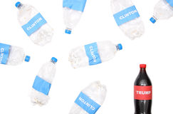 Trump vs Clinton. TEXAS, AUSTIN - DECEMBER 2, 2016: Words `Trump` and `Clinton` on the bottles isolated on white. The illustration of Trump`s winning for the Royalty Free Stock Photo