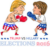 Trump Vs Hillary 2016 Election Boxing Stock Image