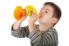 trumpet мальчика Стоковые Фотографии RF