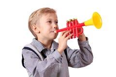 trumpet мальчика Стоковая Фотография