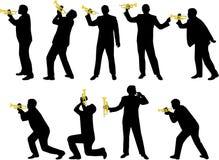 trumpet силуэтов Стоковые Изображения RF